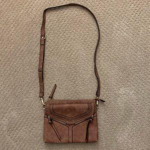Handbags - Tan Suede Crossbody Bag